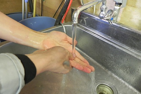 Rinse hands well in water